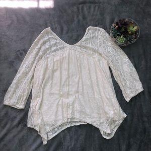 Peasant boho lace top size XL